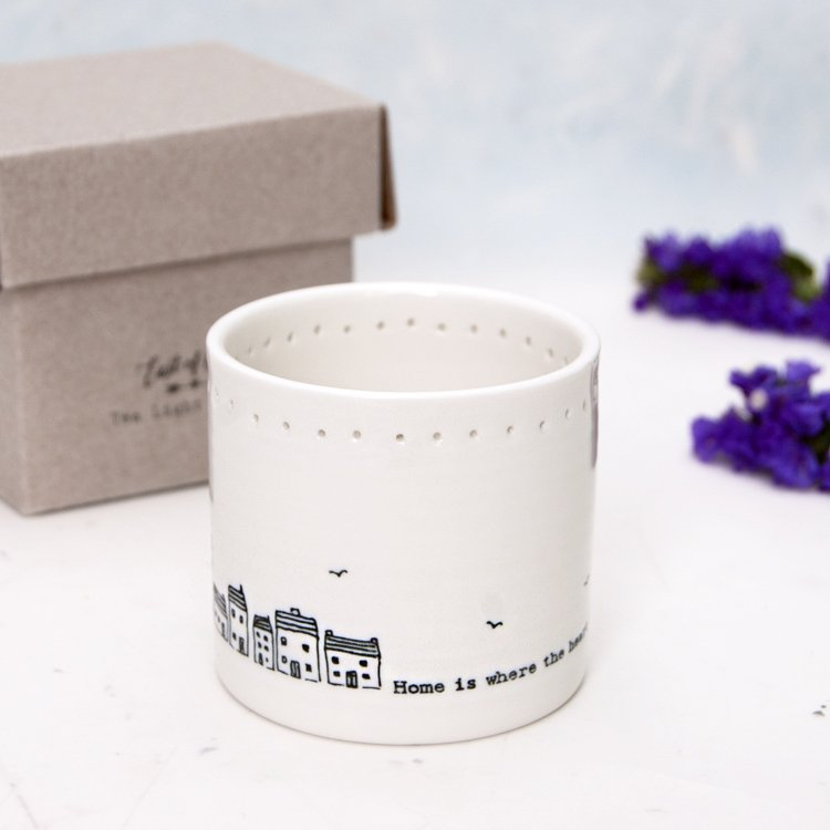 'Home is where the heart is' Porcelain Tealight Holder