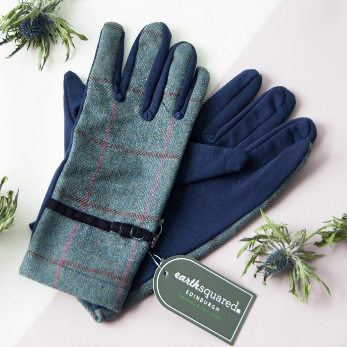 Steel Blue Heritage Tweed Gloves