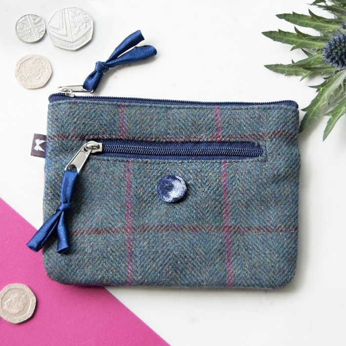 Steel Blue Heritage Tweed Emily Purse
