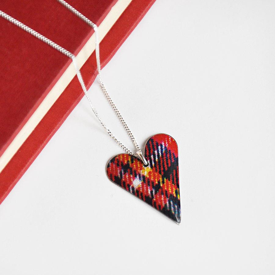 Red Tartan Slim Heart Pendant Necklace