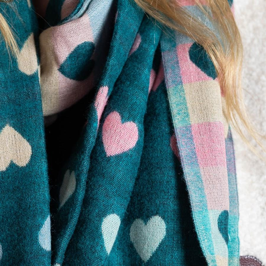 Teal Multicoloured Pastel Hearts Jacquard Scarf