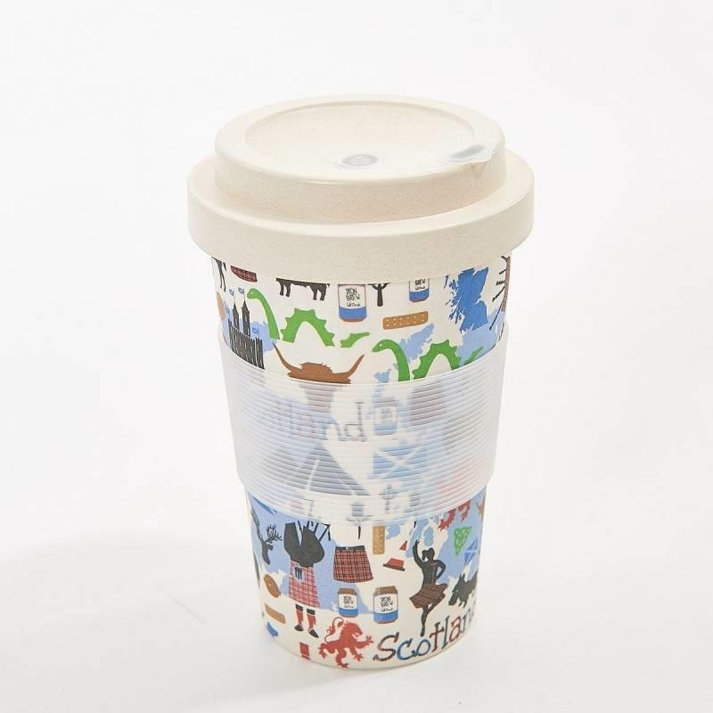 White Scottish Montage Bamboo Travel Cup