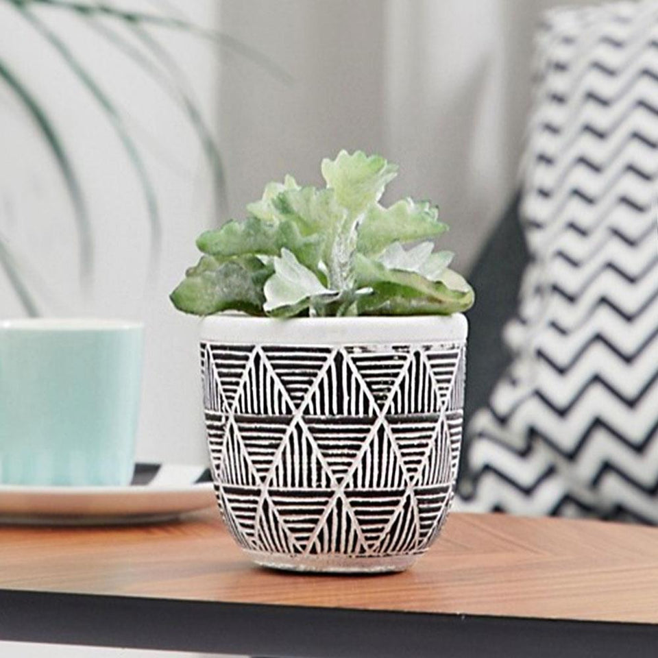 Fake Succulent Plant Pot Black White Triangles
