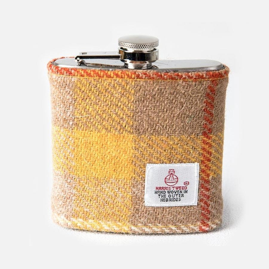 Yellow Check Harris Tweed Hip Flask