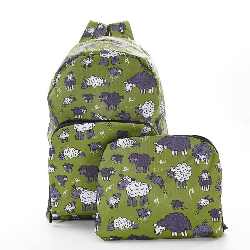 Green Sheep Foldable Backpack