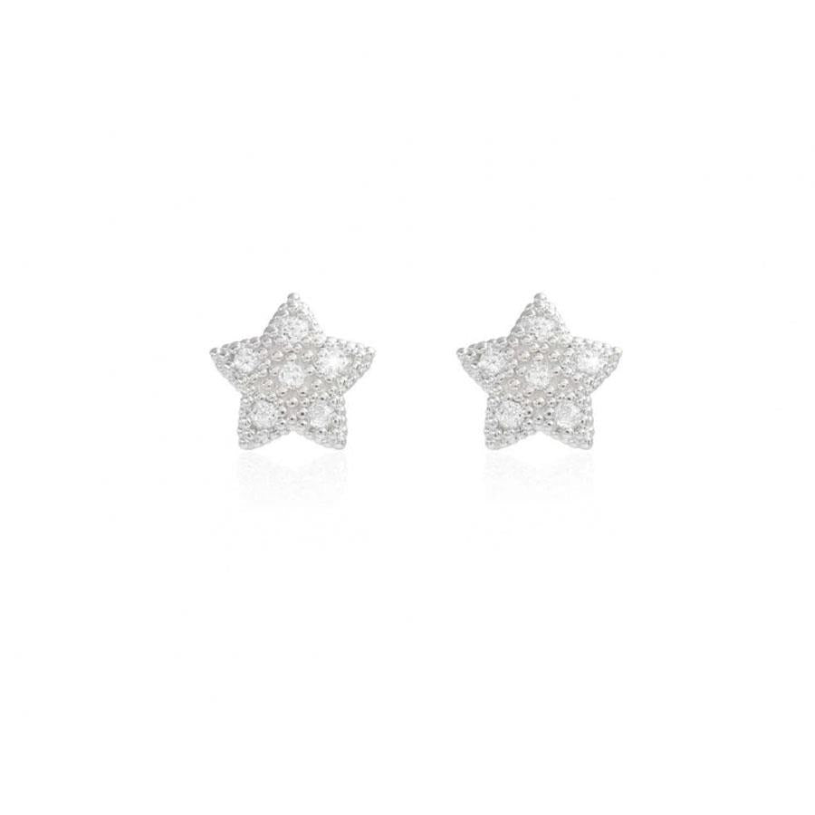 Bella Silver Pave Star Stud Earrings