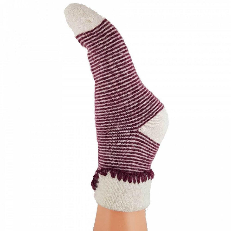 Red Stripey Bed Wool Blend Socks