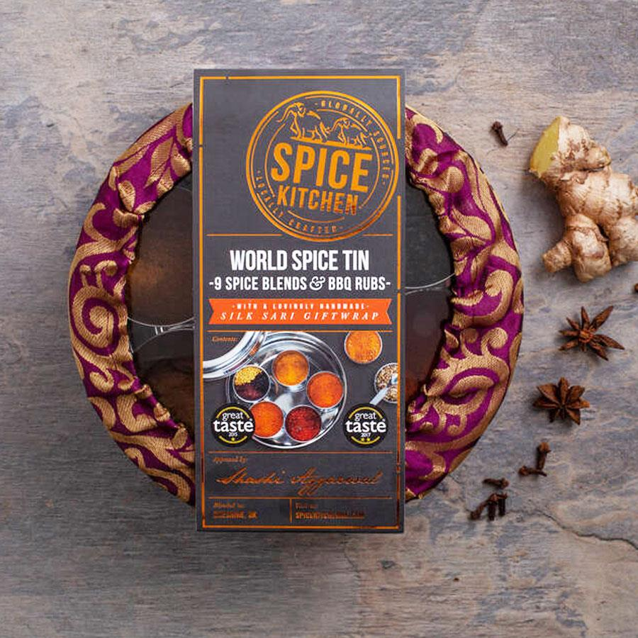 World Blends & BBQ Rubs Spice Tin Set & Handmade Silk Cover