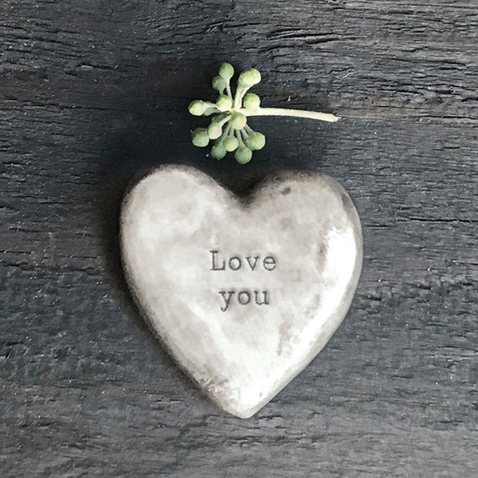 Love You Grey Porcelain Heart Token