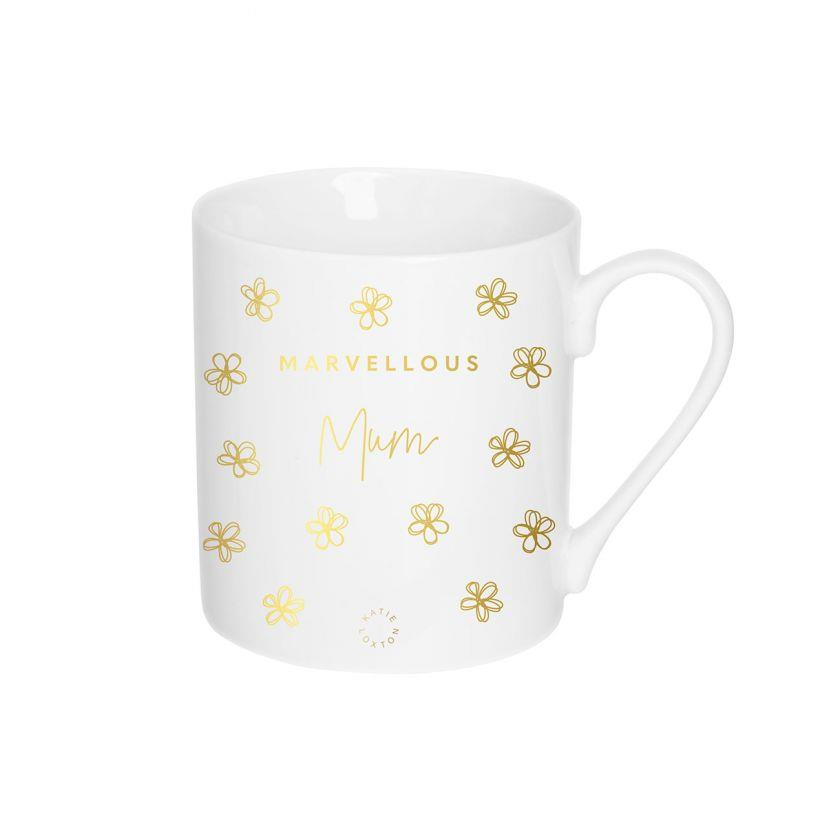 Marvellous Mum Gold Flowers Ceramic Mug