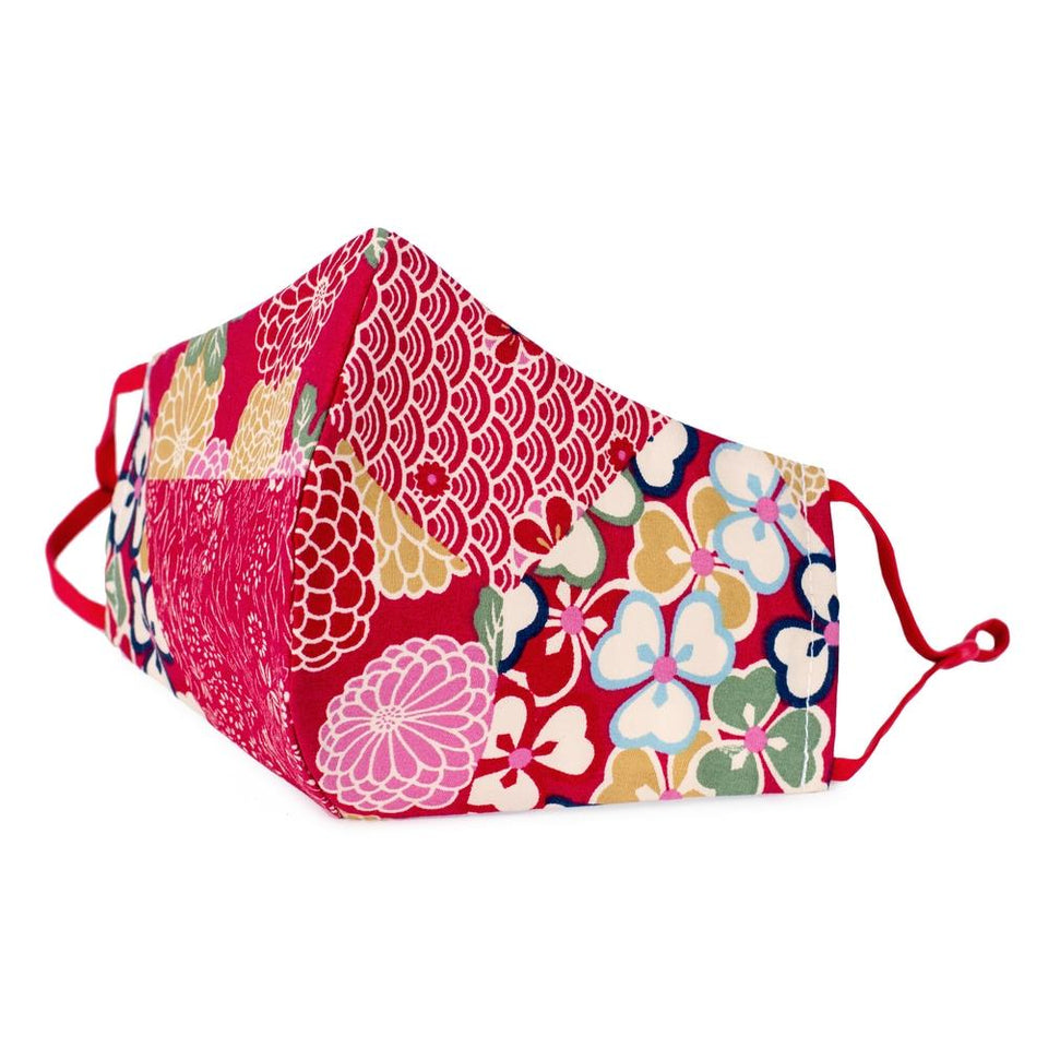 Kimono Patchwork Red Cotton Face Mask