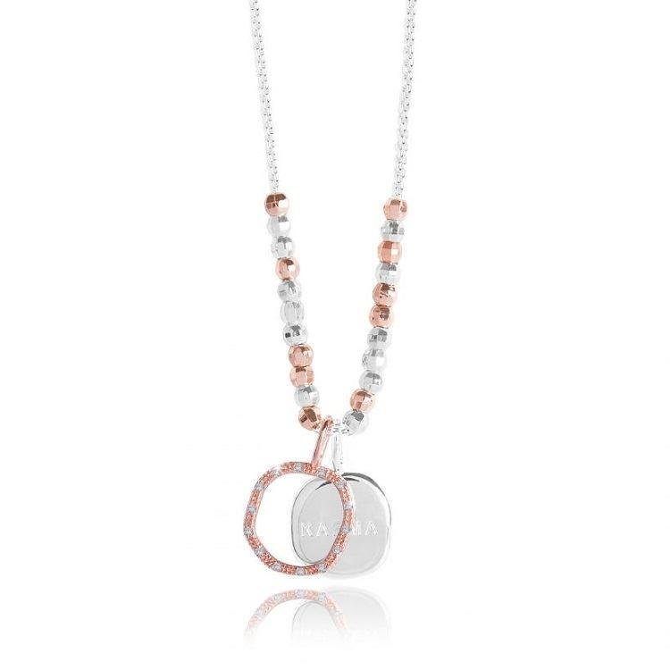 'Karma' Rose Gold & Silver Double Circle Charm Necklace