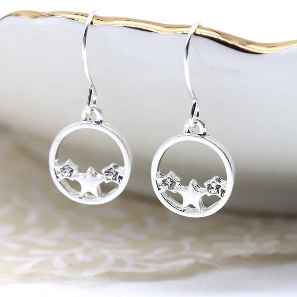 Worn Silver Stars In Circle Earrings