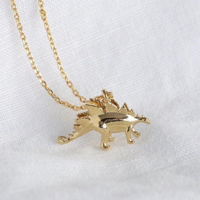 Gold Stegosaurus Charm Necklace