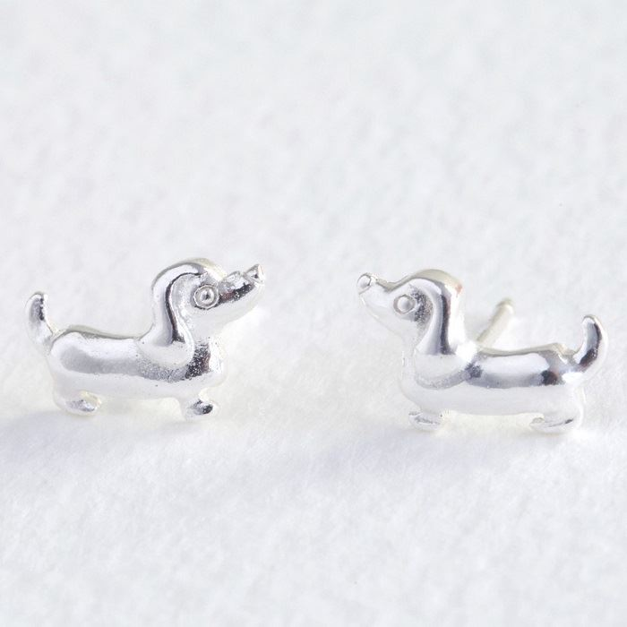 Tiny Sterling Silver Sausage Dog Stud Earrings