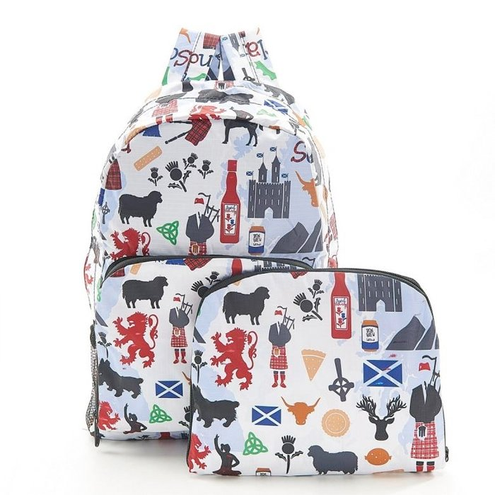 White Scottish Montage Foldable Backpack