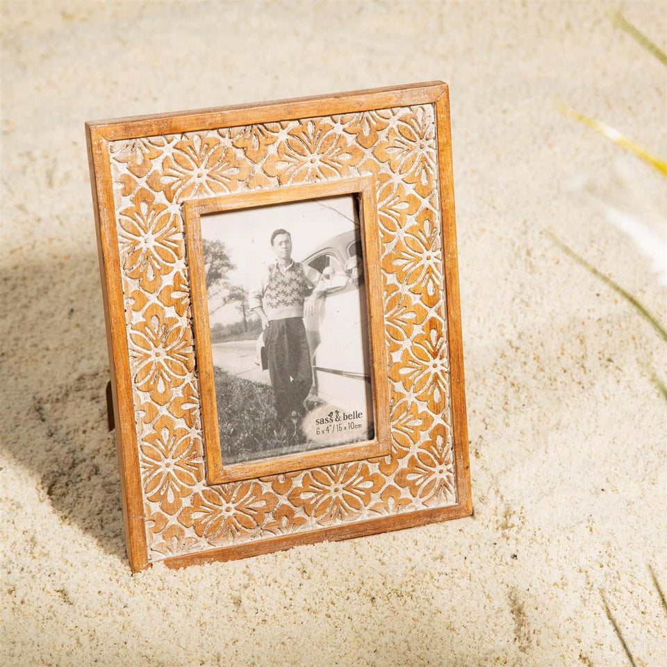 Geometric Floral Carved Photo Frame
