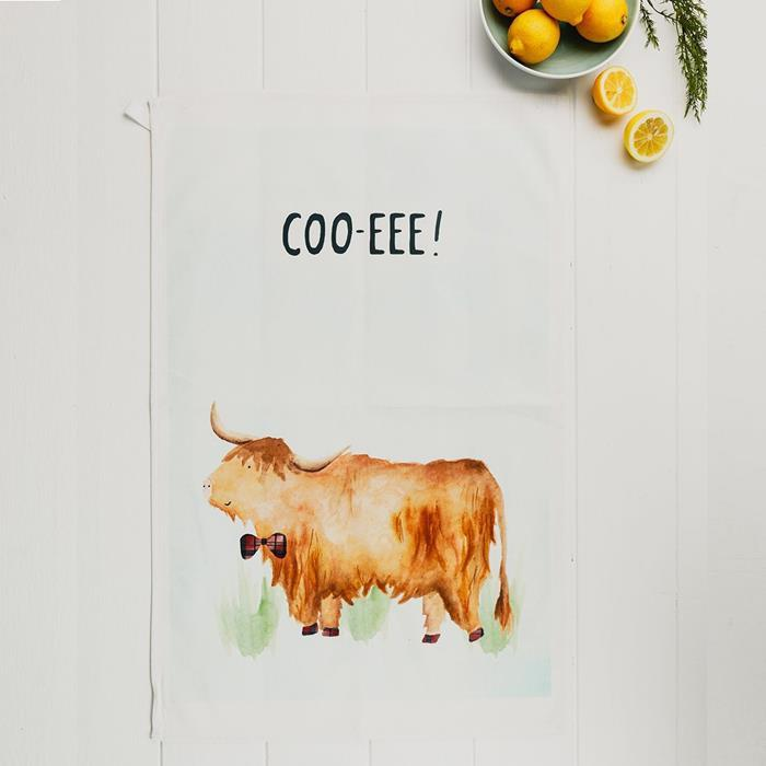 COO-eee Highland Cow Tea Towel