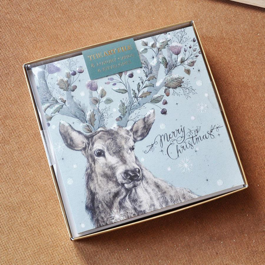 Stag with Wintery Antlers Card Box Set
