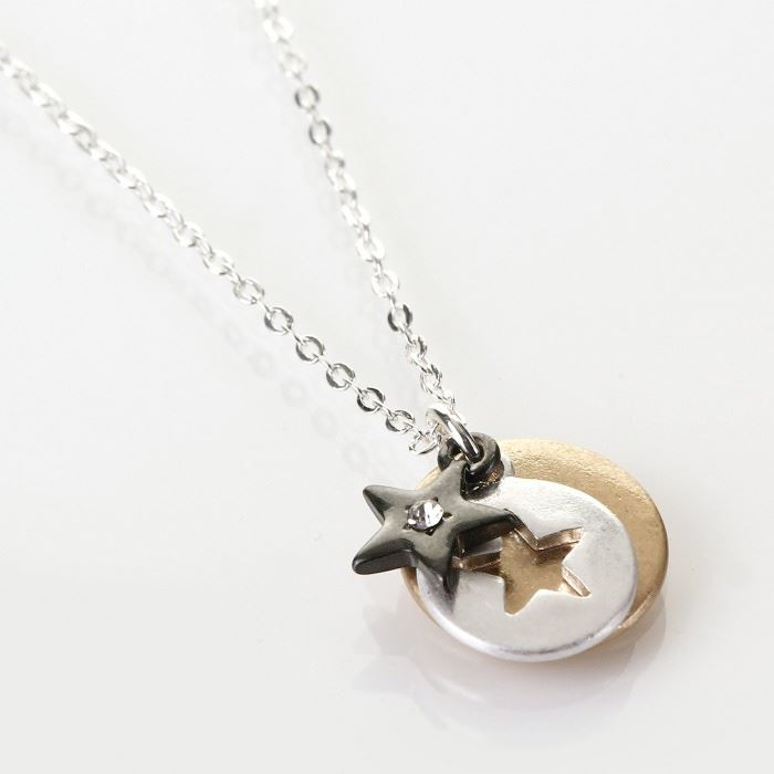Worn Star with Crystal Disc Necklace