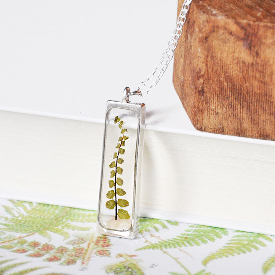 Fern Rectangle Open Locket Silver Pendant Necklace
