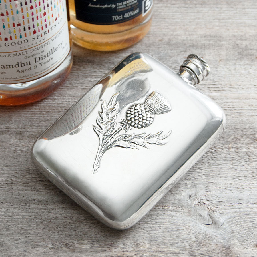 Thistle Embossed Hip Flask