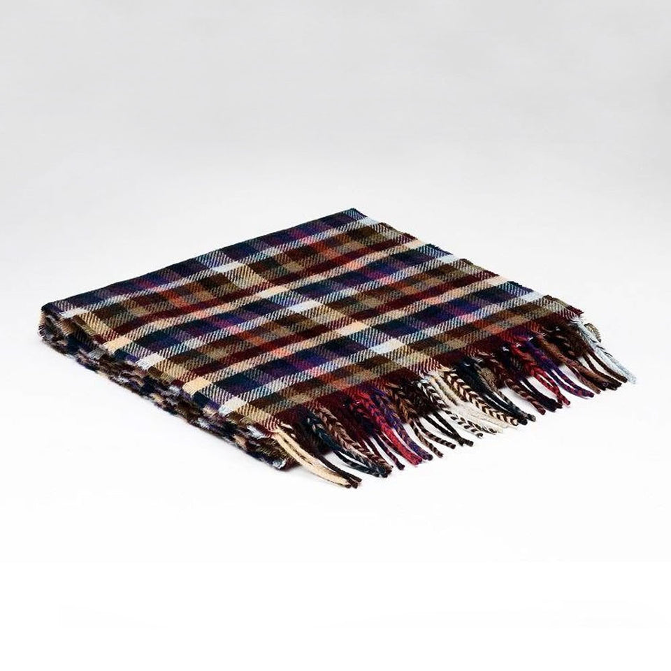 Forest Check Wool Scarf with Tube Gift Box