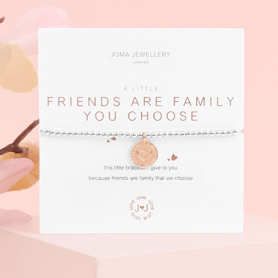 A Little Friends Are The Family You Choose Silver Bracelet
