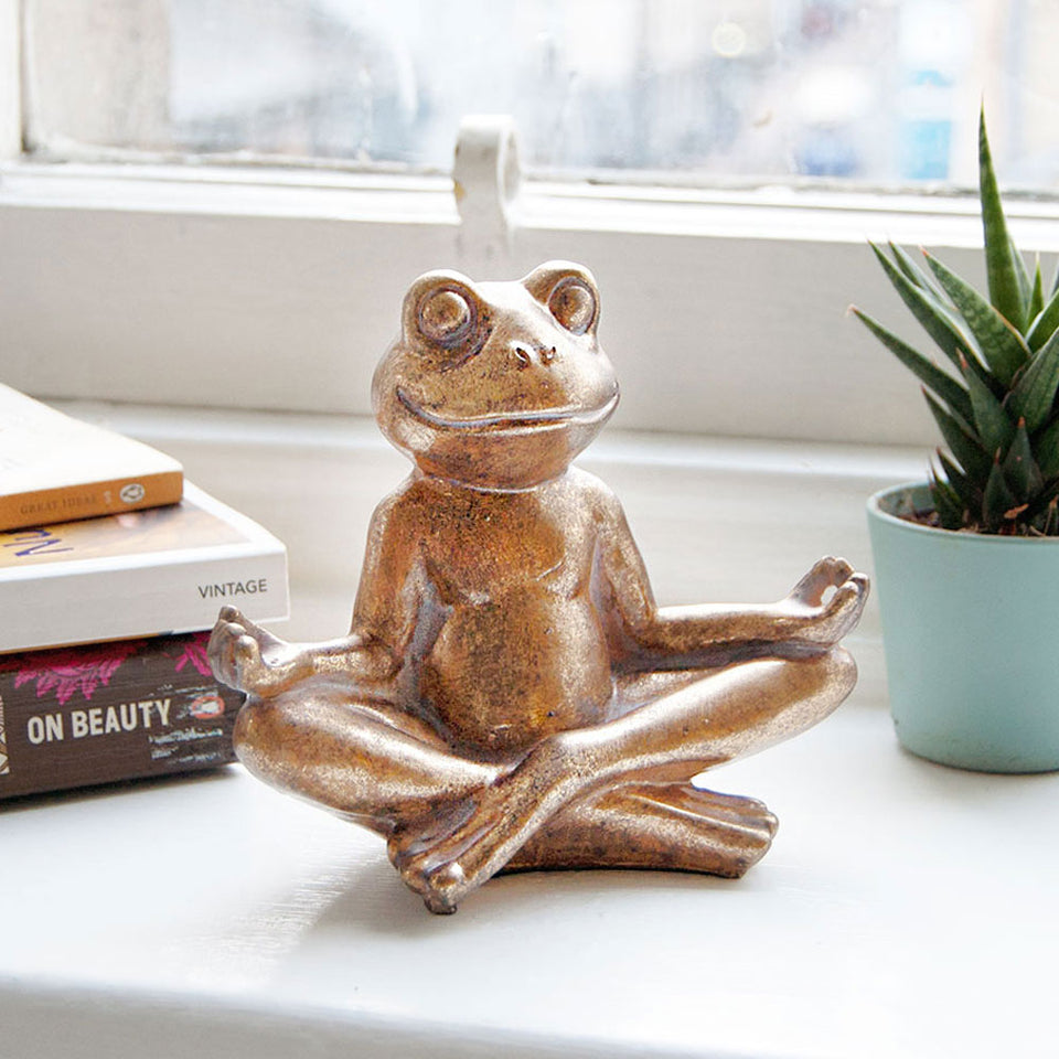 Gold Yoga Frog Decoration