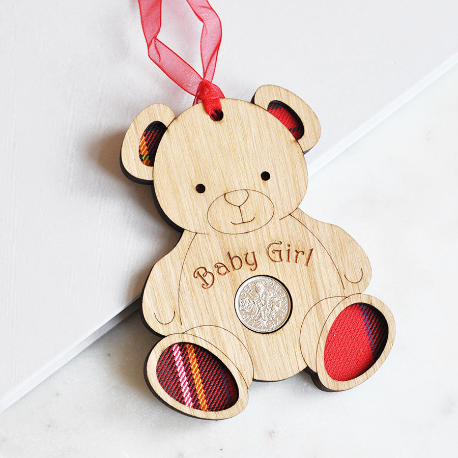 Baby Girl Bear Sixpence Hanging Decoration