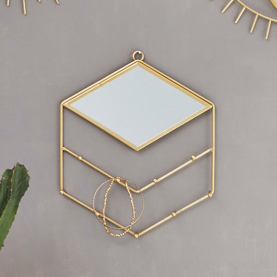 Gold Diamond Jewellery Holder | With Mirror