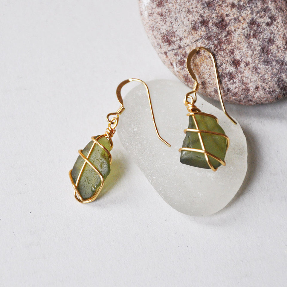 Gold Classic Green Sea Glass Earrings