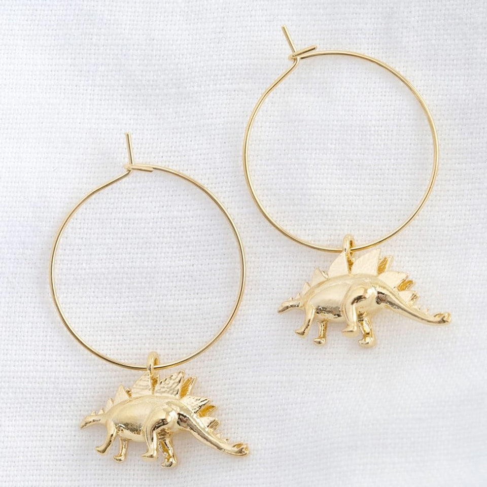 Gold Stegosaurus Charm Hoop Earrings