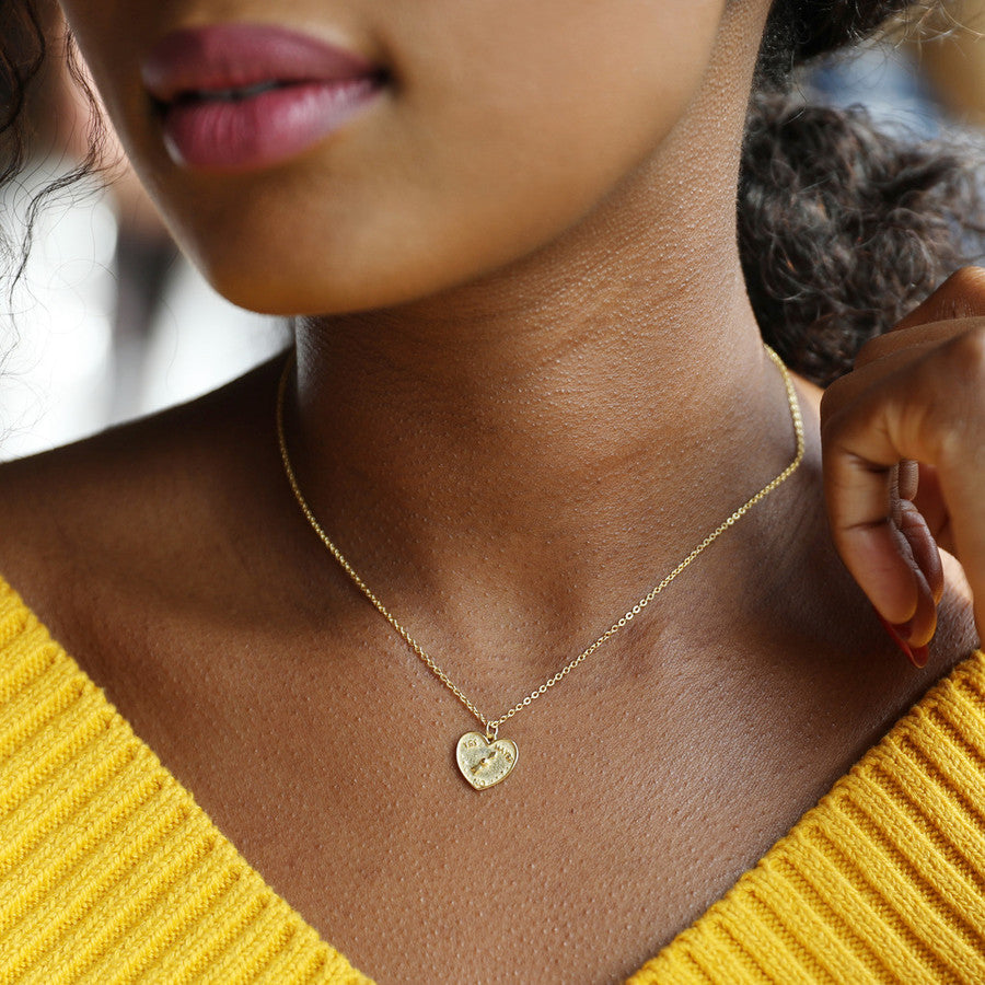 Gold Sterling Silver Decision Heart Pendant Necklace