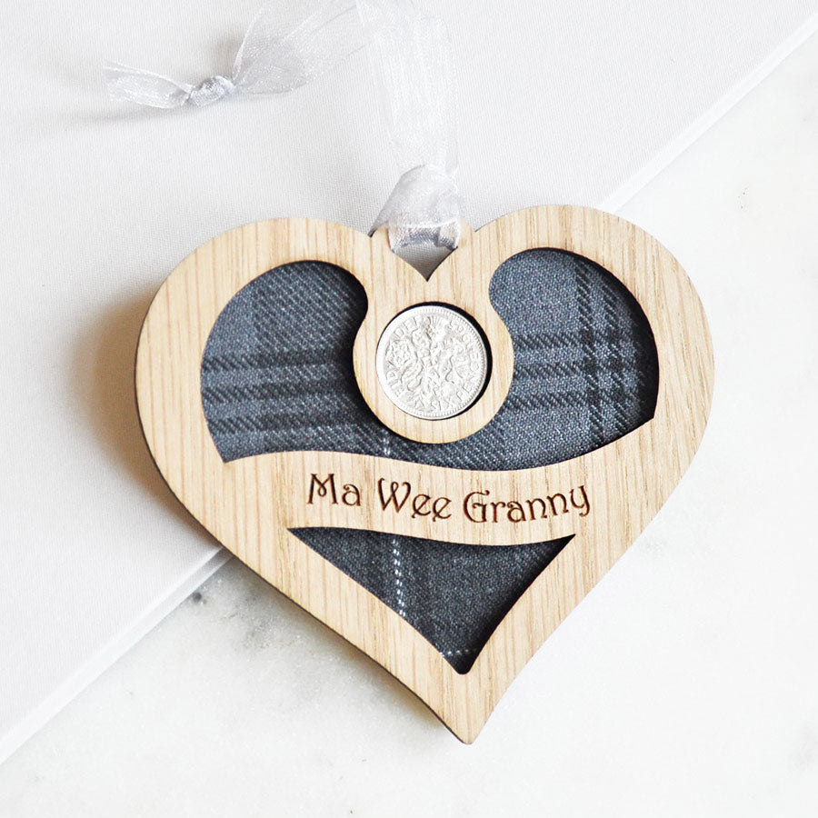 Ma Wee Granny Heart Sixpence Hanging Decoration