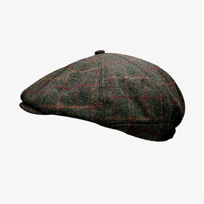 Green Peaky Tweed Stud Cap
