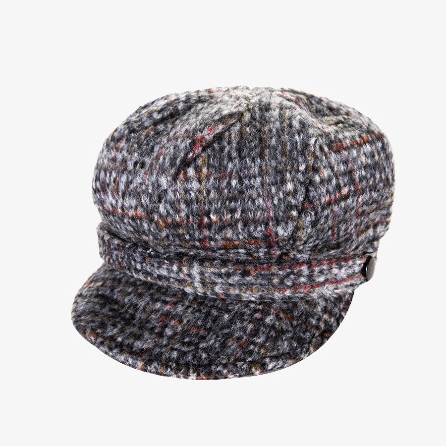 Ladies Grey Tweed Newsboy Cap
