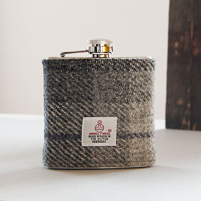 Black Grey Harris Tweed Hip Flask in Gift Box