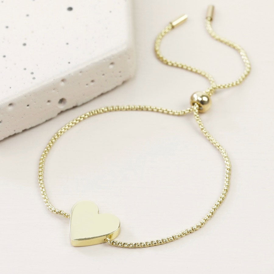 Box Chain Gold Heart Bracelet