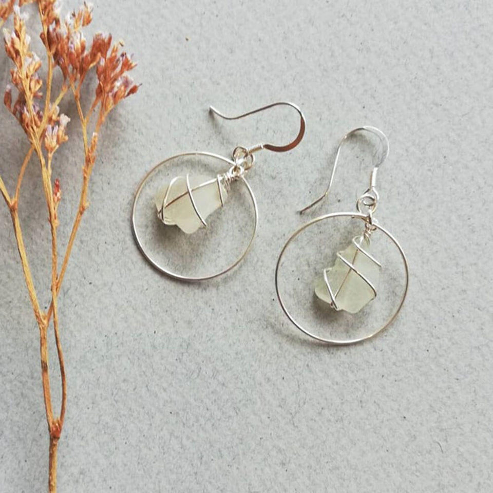 Silver Hoops White Sea Glass Earrings
