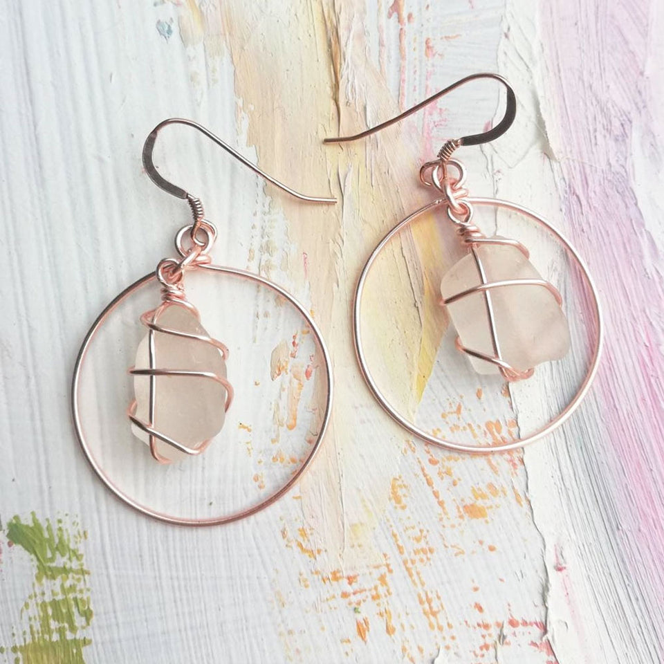 Rose Gold Hoops White Sea Glass Earrings