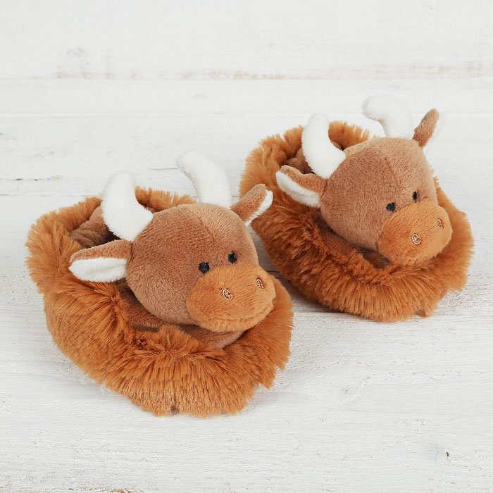 Highland Coo Baby Slippers | 0-6 Months