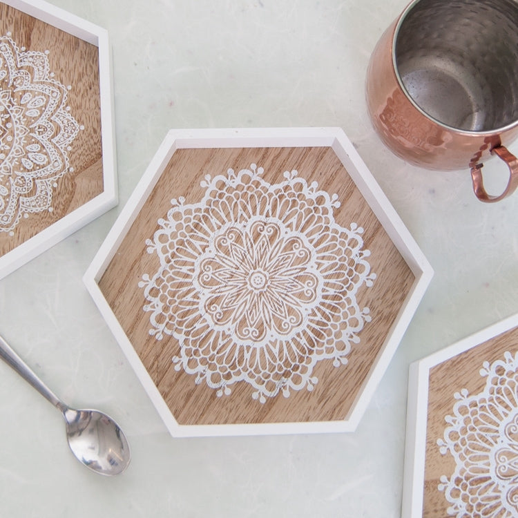 Boho Hexagonal Wooden Tray | Assorted