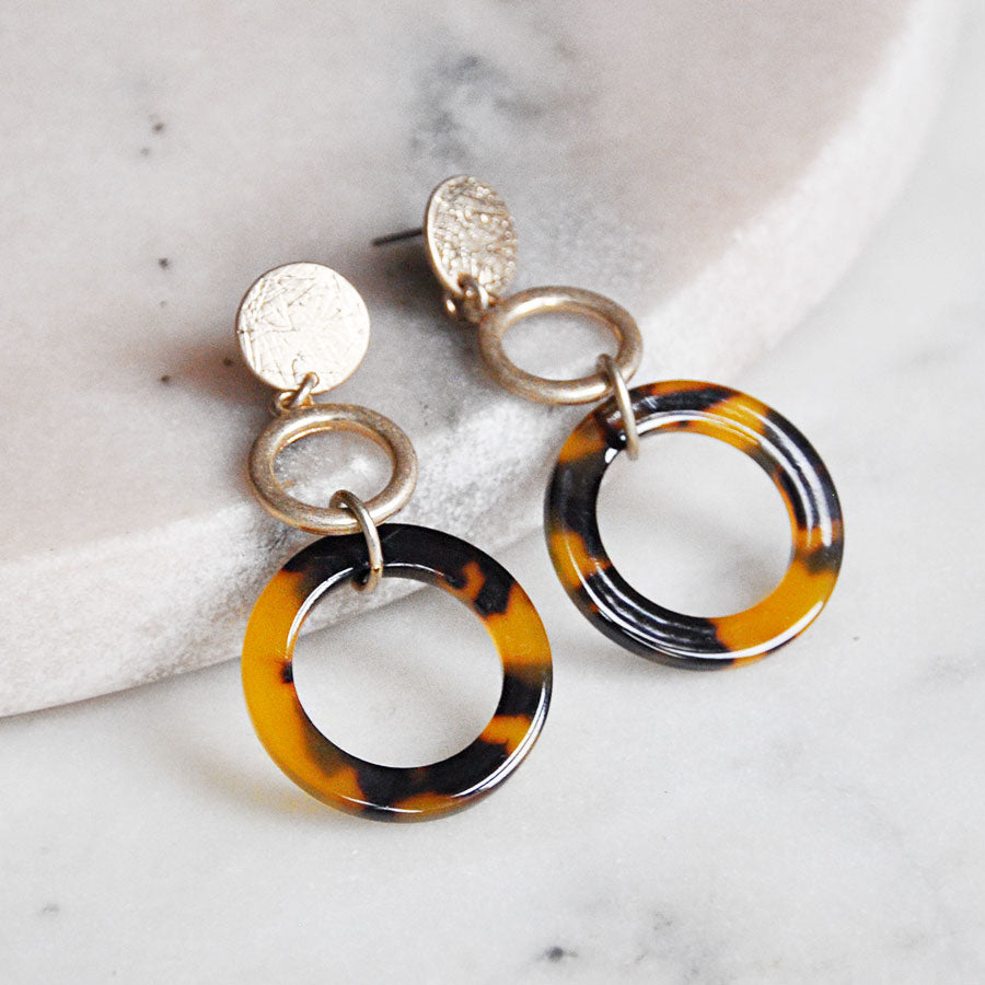 Worn Gold & Resin Hoops Stud Earrings