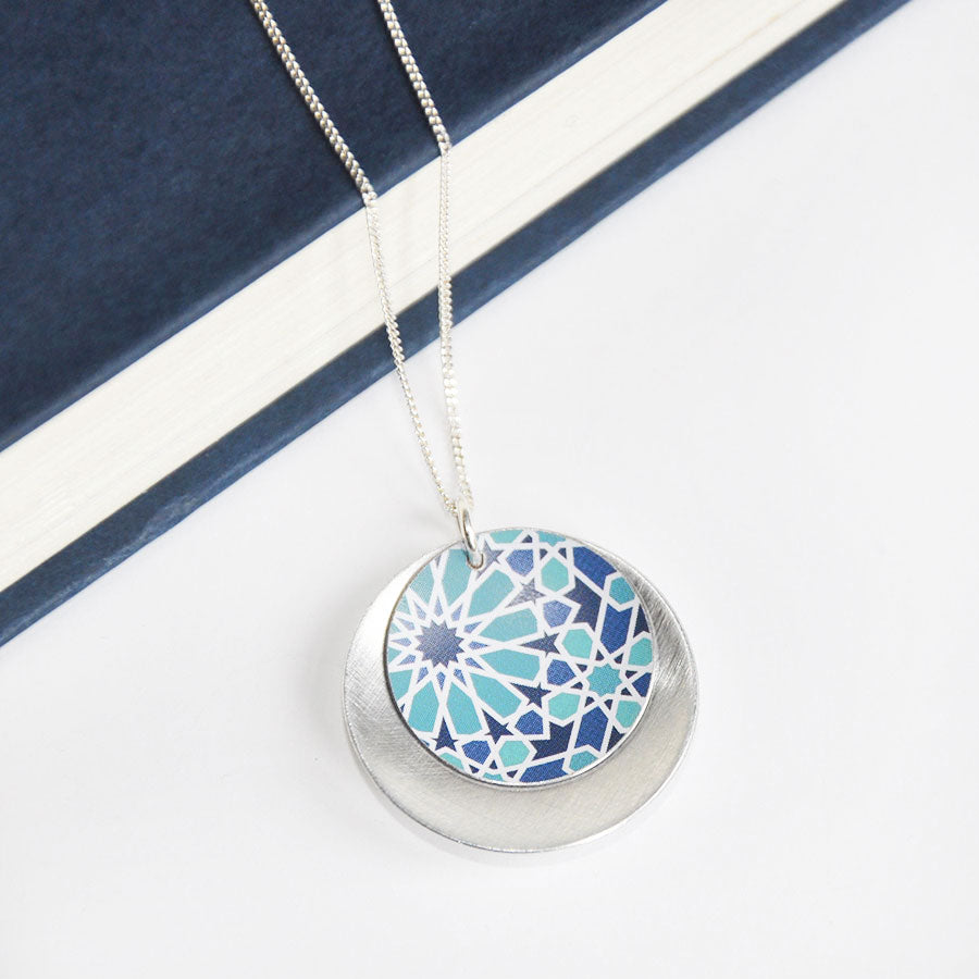 Mosaic Concave Double Disc Pendant Necklace