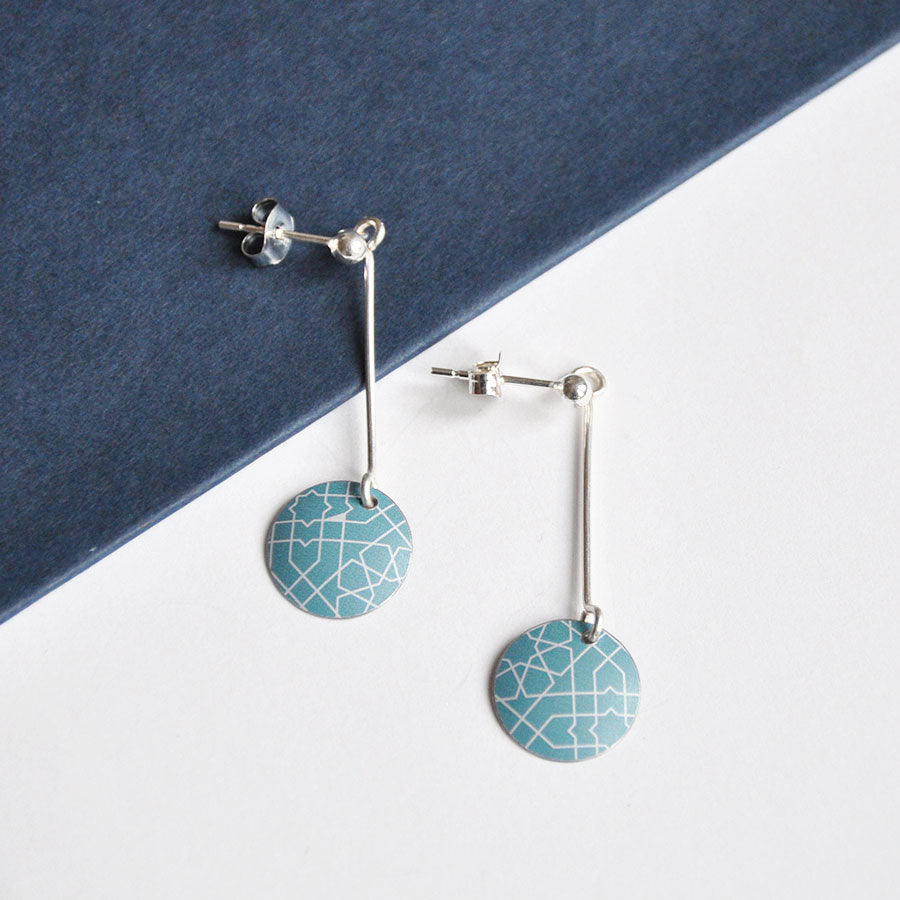 Mosaic Disc on Ball Stud Earrings