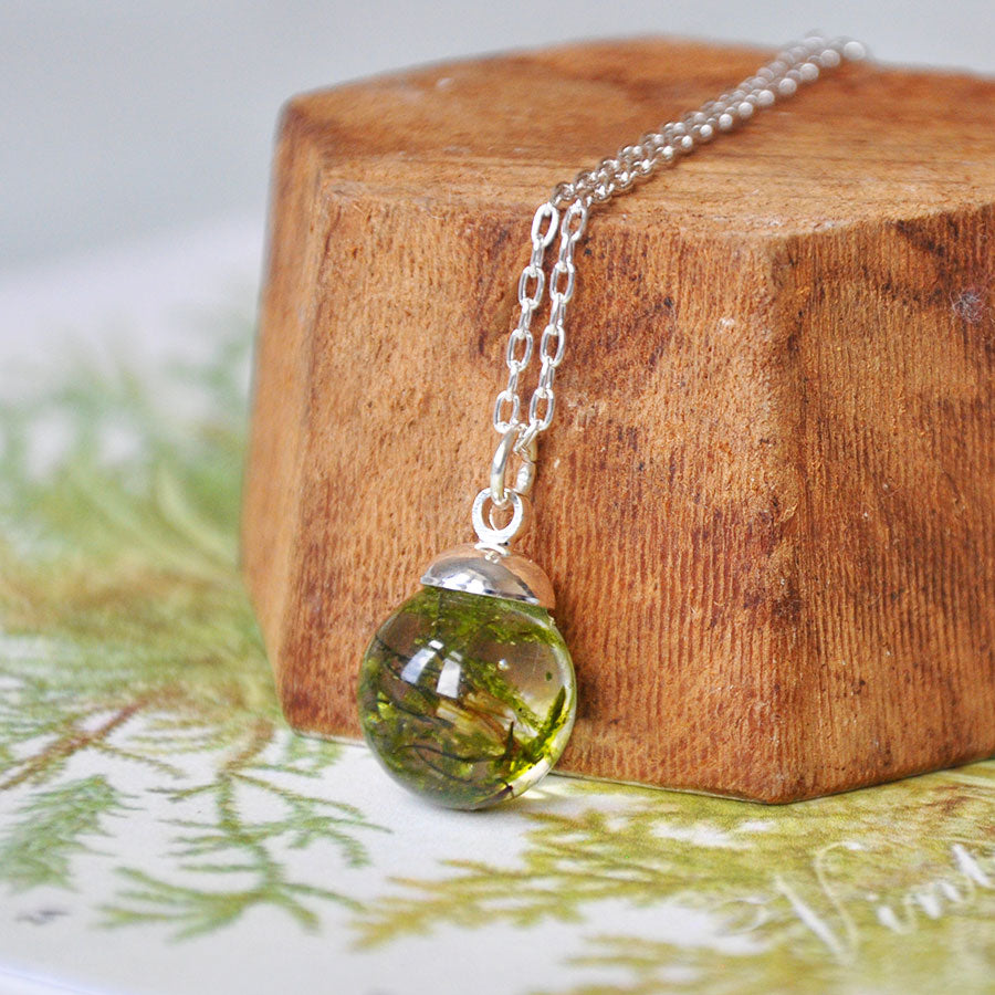 Moss Sphere Silver Pendant Necklace