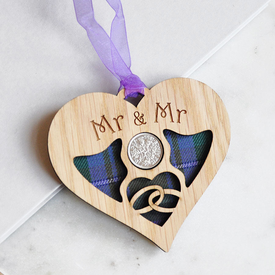 Mr & Mr Wedding Heart Sixpence Hanging Decoration