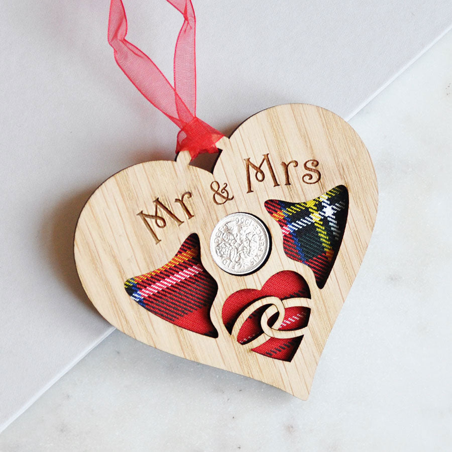 Mr & Mrs Wedding Heart Sixpence Hanging Decoration