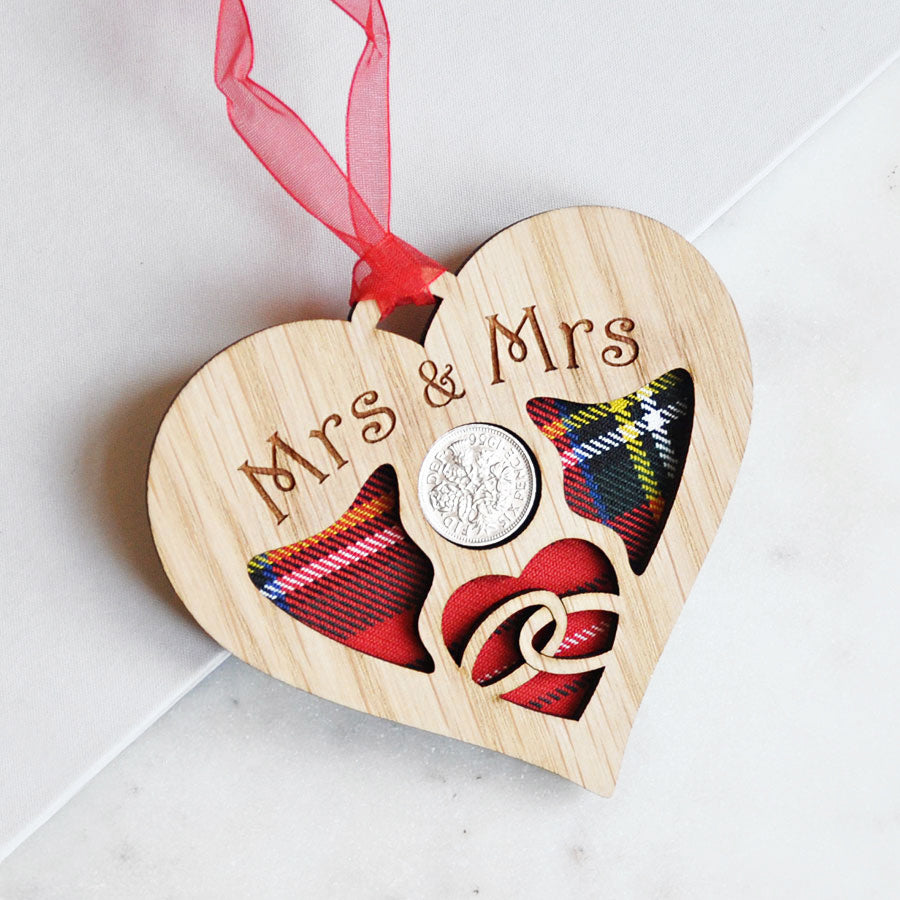 Mrs & Mrs Wedding Heart Sixpence Hanging Decoration